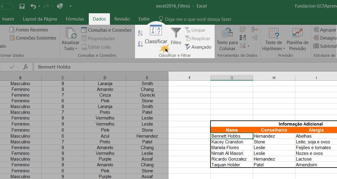 Imagem exemplo do comando Classificar da guia Dados.