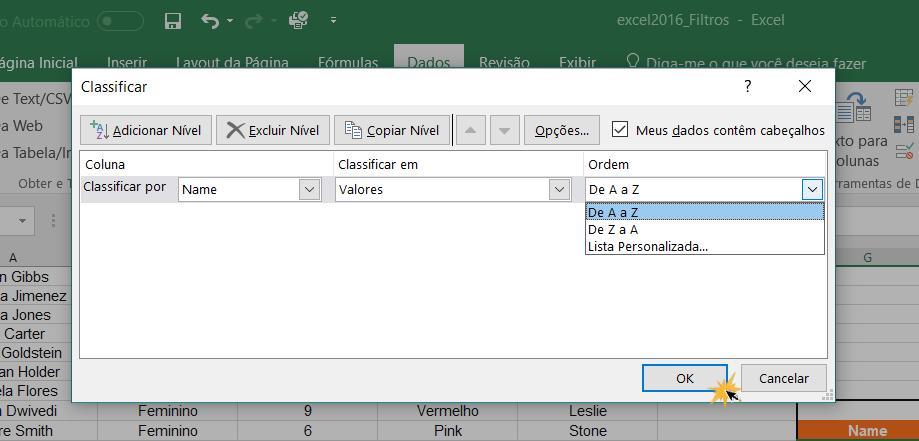 Imagem exemplo da caixa de diálogo Classificar.