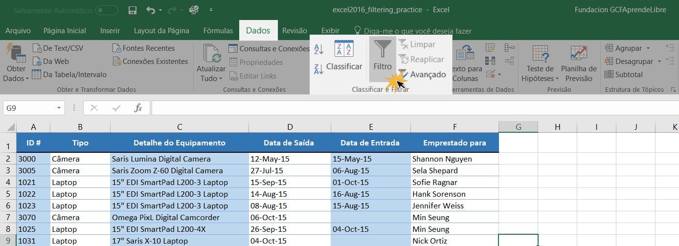 Exemplo do comando Filtro na guia Dados.