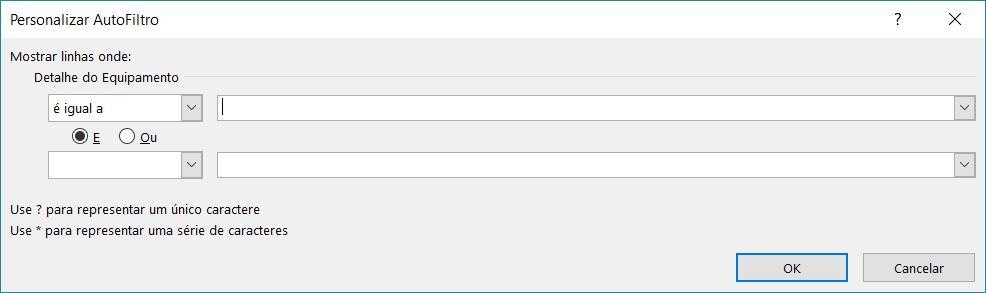 Exemplo de caixa de diálogo de Filtro personalizado.