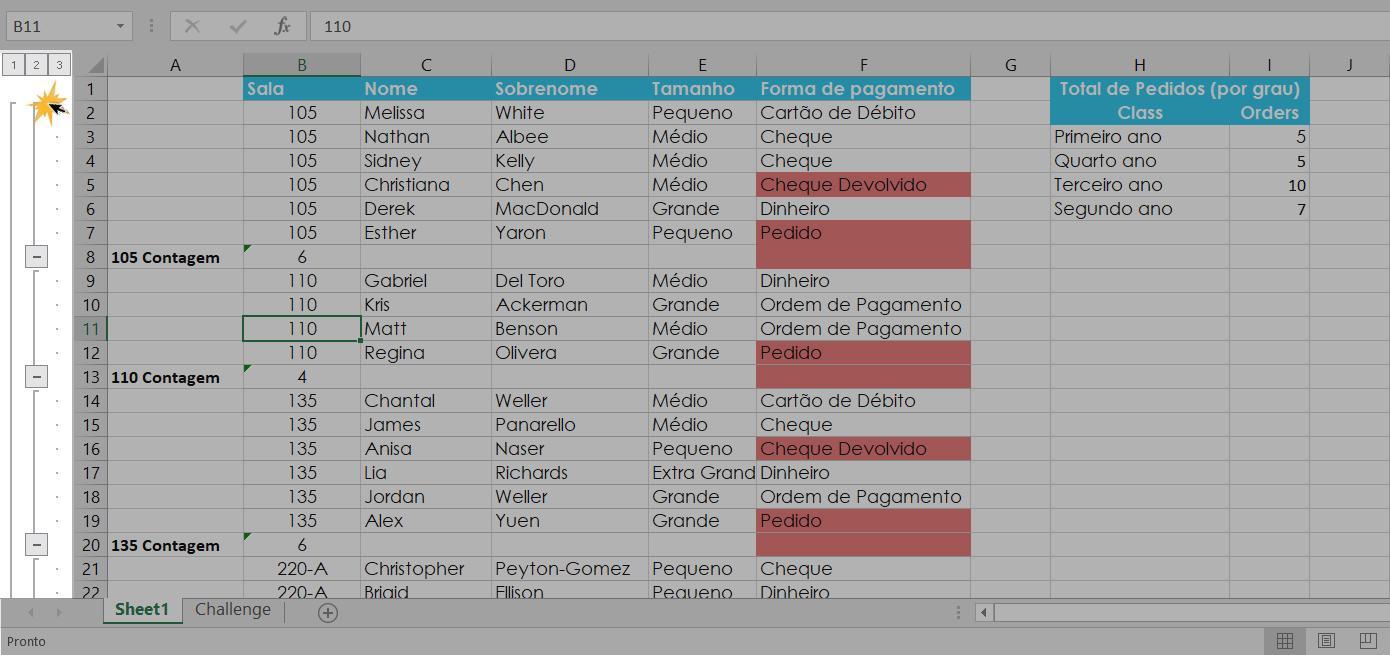 Exemplo dos níveis de grupos e subtotais no Excel 2016.