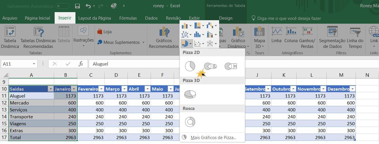 Exemplo de como inserir um gráfico no Excel.