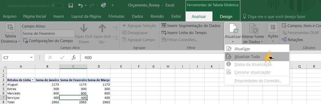 Exemplo de como atualizar uma tabela dinâmica.