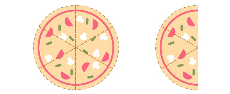 Una pizza y media en partes de un sexto, tiene nueve porciones.