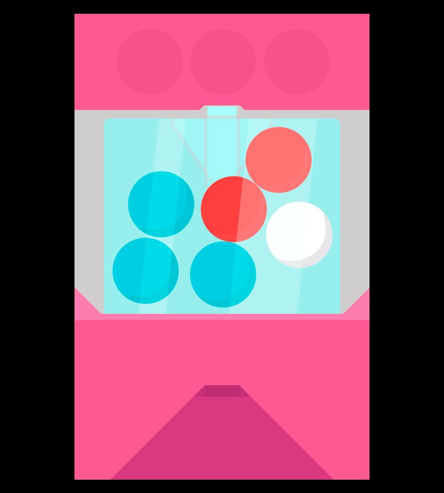 Una urna con tres balotas azules, dos rojas y una blanca