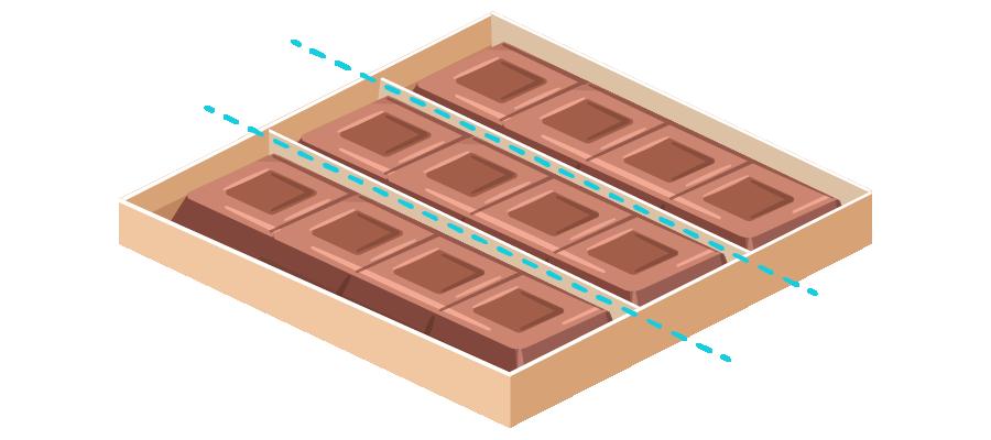 Una caja de doce postres dividida en tres partes iguales.