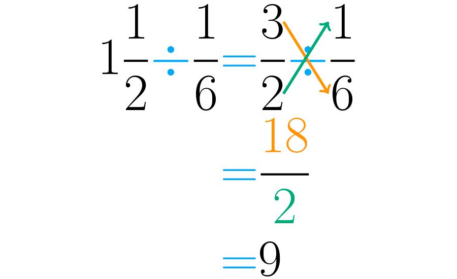 Un entero y un medio, dividido entre un sexto