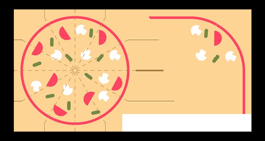 Quince doceavos de pizza.