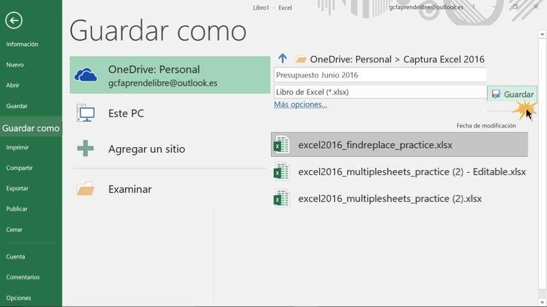 Imagen ejemplo del panel de Guardar como en Excel 2016.