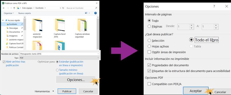 Imagen ejemplo de Opciones para exportar un documento a PDF.