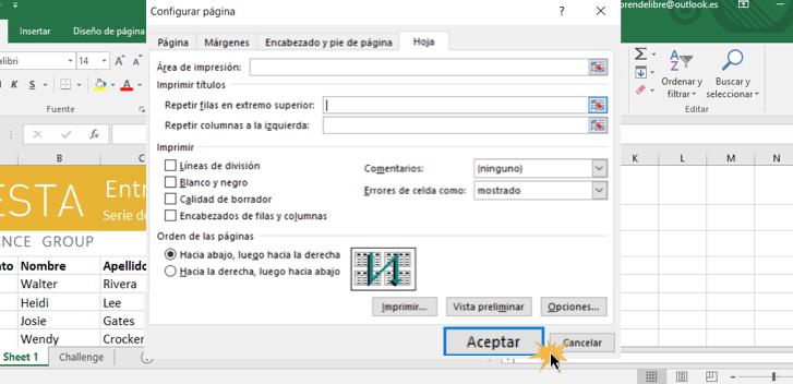 Imagen ejemplo del cuadro de diálogo de Configurar página y el botón Aceptar.