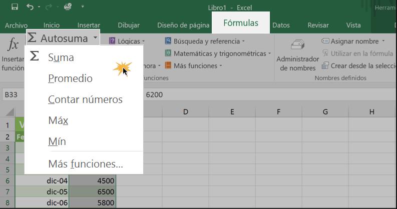 Imagen ejemplo de cómo insertar una función de Autosuma.