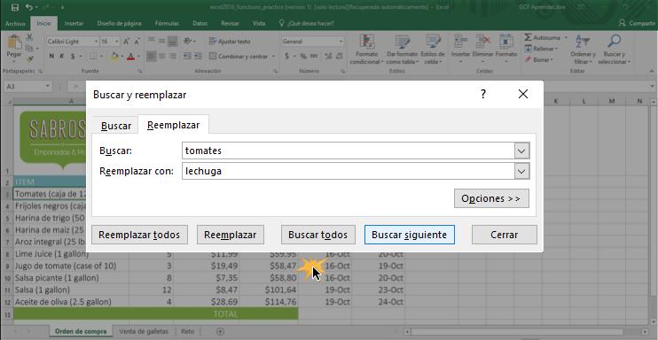 Imagen ejemplo del cuadro de diálogo al reemplazar contenido en Excel.