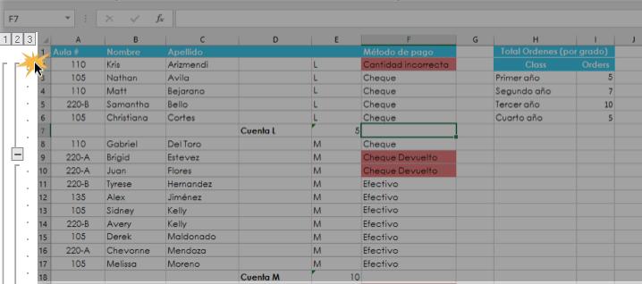 Imagen ejemplo de los niveles de grupos y subtotales en Excel 2016.