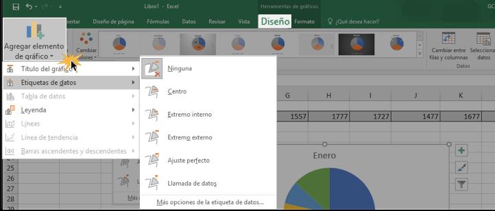Imagen ejemplo del comando Agregar elemento de gráfico.