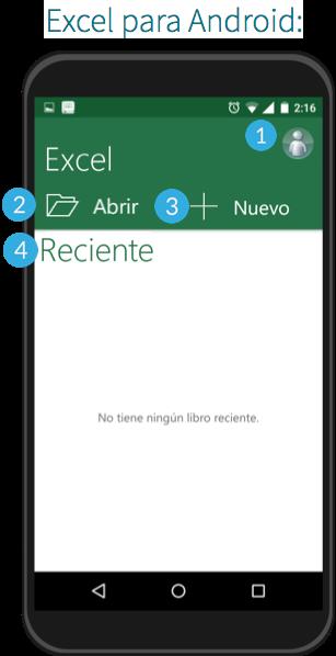 Interfaz de Excel en sistema operativo Android.