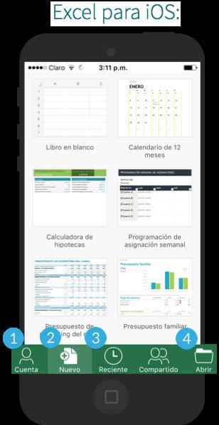 Interfaz de Excel para sistema operativo iOS.