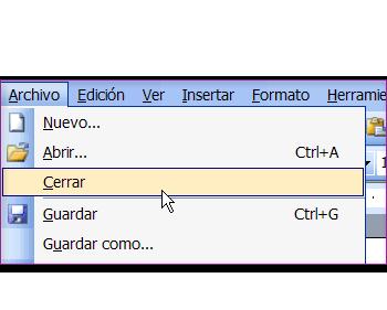 Imagen que muestra el menú de la pestana Archivo y la opción Cerrar.