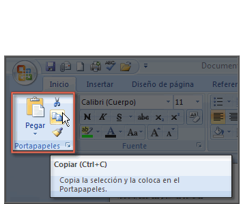 Imagen ejemplo de los comandos Cortar, Pegar, Copiar.