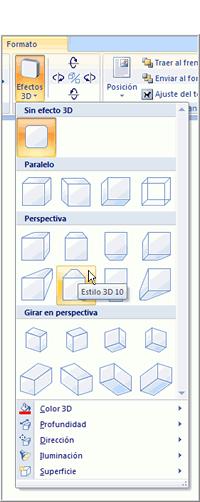 Imagen ejemplo de los comandos Efectos 3D y su menú desplegable.