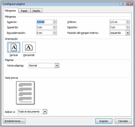 Imagen ejemplo de cuadro de diálogo Configurar márgenes.