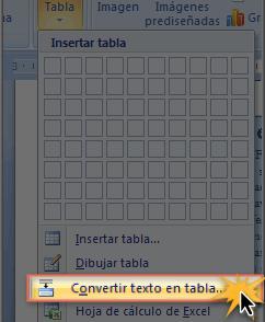 Imagen ejemplo de los dos primeros pasos de cómo convertir texto en una tabla en Word 2007.