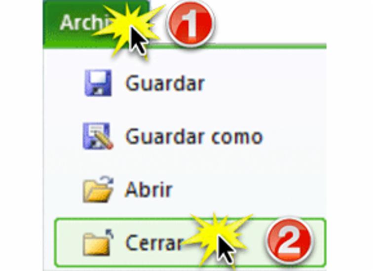 Imagen de la pestaña Archivo y el botón Cerrar en Excel 2010