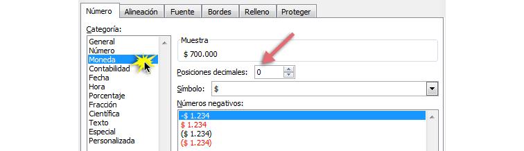Imagen ejemplo de los pasos para cambiar el formato de los números
