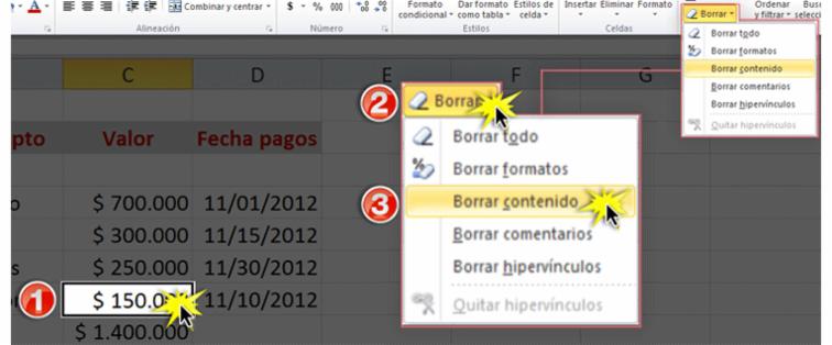 Imagen de los pasos para borrar el contenido de una celda en Excel 2010