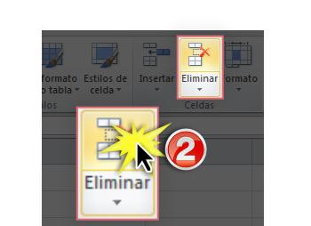 Imagen del botón Eliminar en Excel 2010.