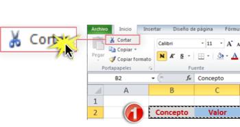 Imagen del comando Cortar en la Cinta de opciones de Excel 2010.