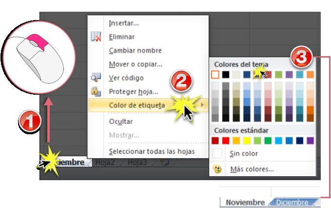 Microsoft Excel 2010: Cambiar el color y agrupar hojas de cálculo