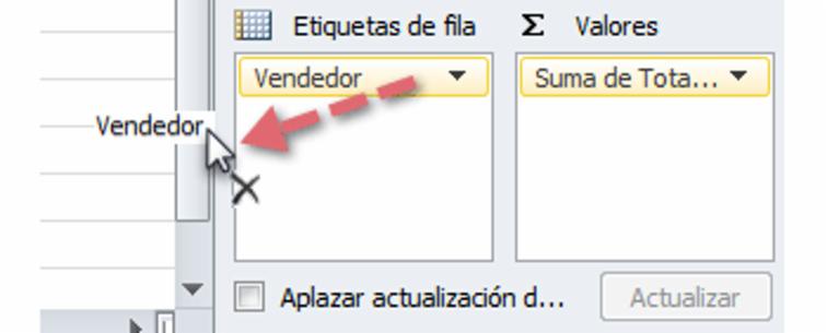 Imagen ejemplo del primer paso para cambiar datos en una tabla dinámica de Excel 2010.