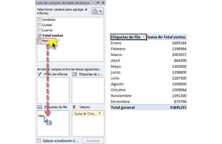 Imagen ejemplo de los pasos 2 y 3 para cambiar datos en una tabla dinámica de Excel 2010.