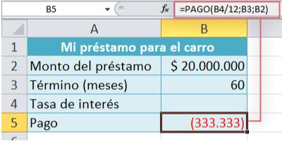 Imagen ejemplo de búsqueda de objetivo en Excel 2010.