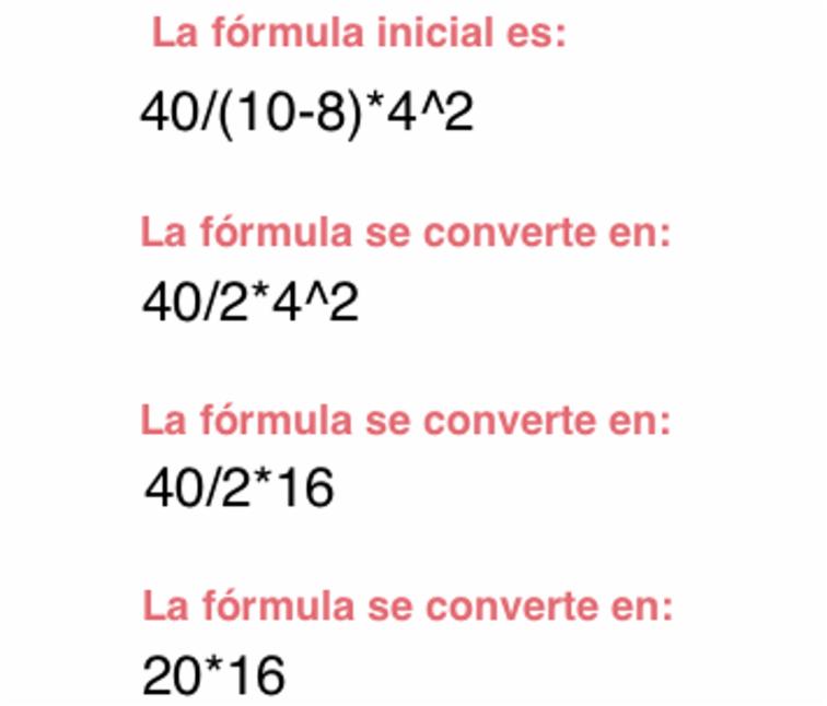 Imagen ejemplo de una operación resuelta conforme el orden de Excel para calcular fórmulas complejas.