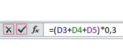 Imagen de los botones Cancelar y Aceptar en la barra de fórmulas en Excel 2010.