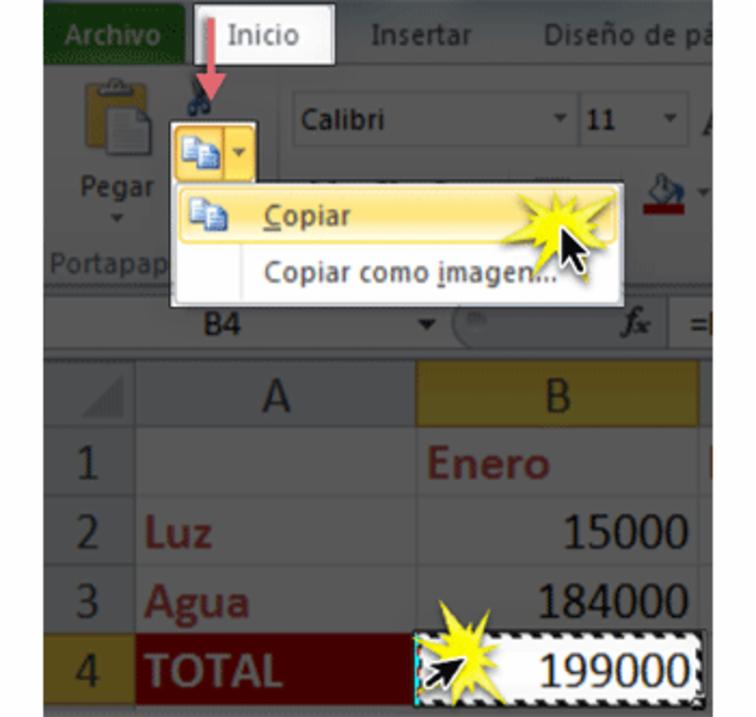 Imagen ejemplo del comando Copiar en la cinta de opciones de Excel 2010.