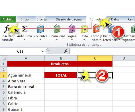 Imagen ejemplo de la pestaña Fórmulas y el comando Insertar Función en Excel 2010.
