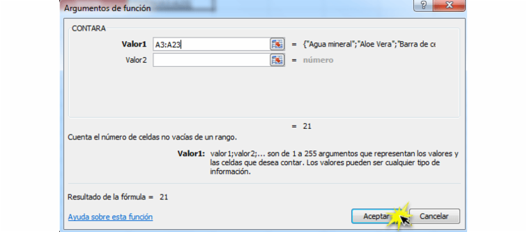 Imagen ejemplo del cuadro de diálogo Argumentos de función en Excel 2010.