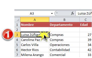 Imagen ejemplo del primer paso para ordenar una lista en orden alfabético en Excel 2010.