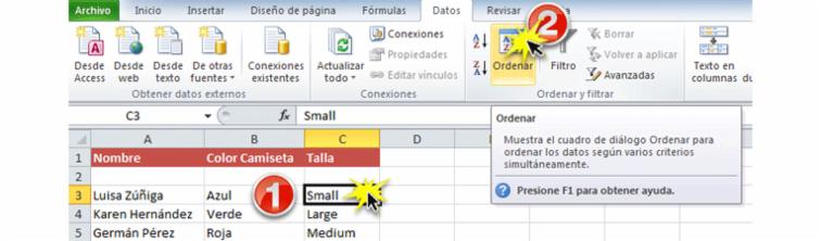 Imagen de los dos primeros pasos de cómo ordenar datos por criterios personalizados en Excel 2010.