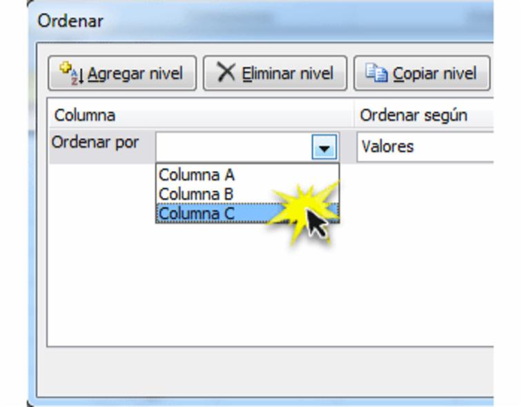 Imagen ejemplo del cuadro de diálogo Ordenar en Excel 2010.