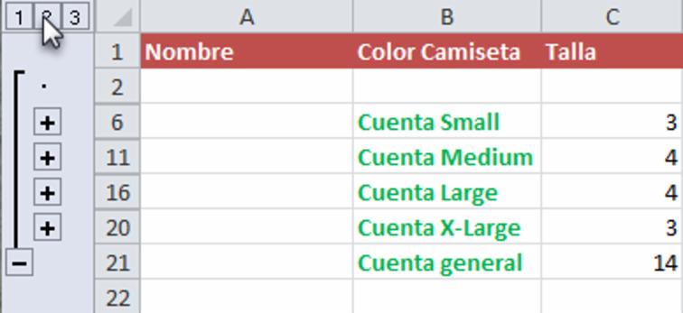 Imagen ejemplo de una hoja de calculo con el nivel intermedio seleccionado al trabajar con datos ya organizados en Excel 2010.