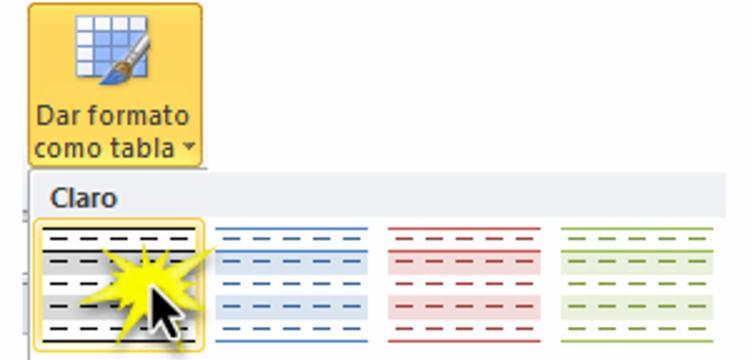 Imagen ejemplo de los estilos de tabla predefinidos en Excel 2010.