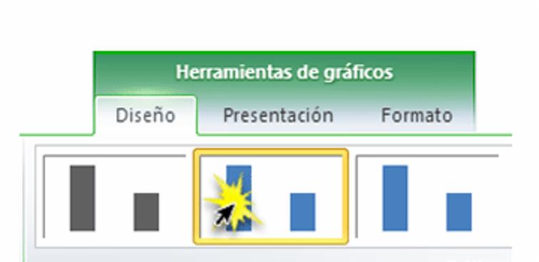 Imagen ejemplo de algunos estilos de gráfico disponibles en la pestaña Diseño de Excel 2010.