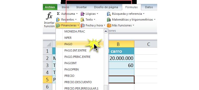 Imagen ejemplo de la función Pago en el menú desplegable de la categoría Financieras en Excel 2010.