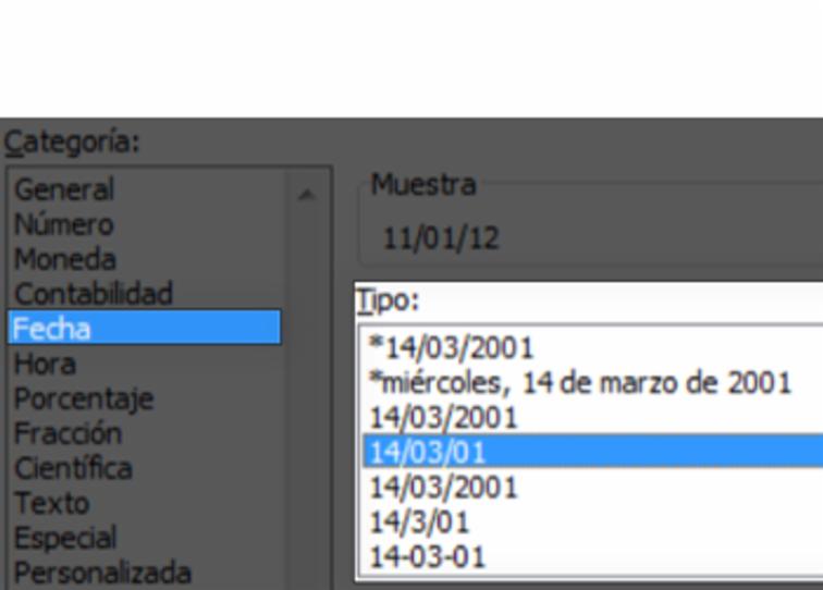 Imagen ejemplo de los pasos para cambiar formato de fecha.