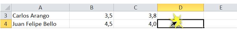 Imagen de datos de ejercicio de referencia. Celda D4 seleccionada.