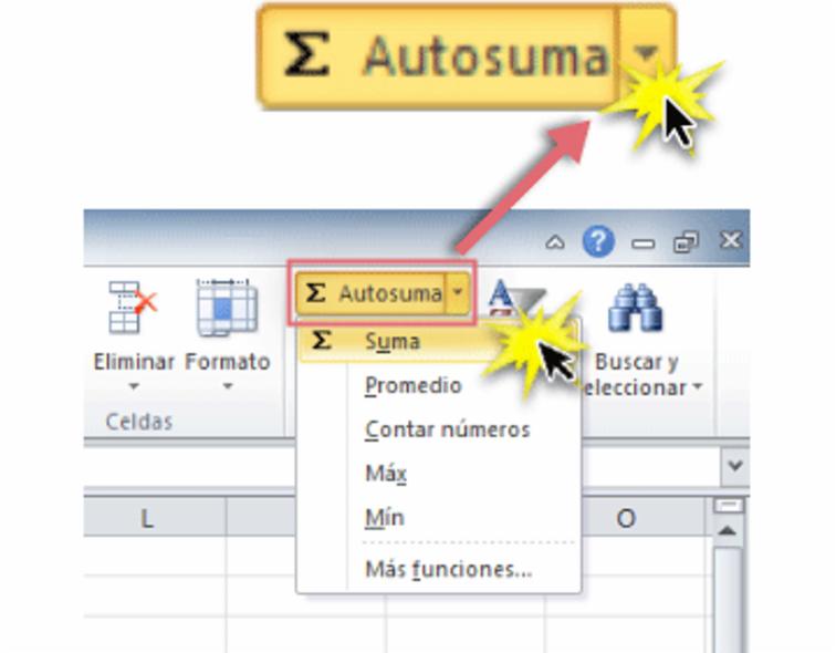 Imagen ejemplo del Comando Autosuma y la función Suma en Excel 2010.
